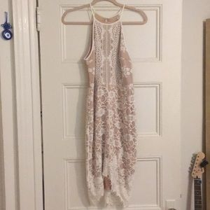 White Lace Dress with Beige Slip